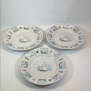 Gibson Sailboat Nautical lunch salad plates set 3